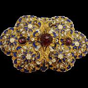 SALE Spectacular Art Nouveau Champleve Enamel Jeweled Belt Buckle French Blue & White