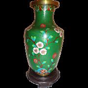 Vintage Midcentury Chinese Export Cloisonne Cherry Blossom Vase Green Pink Blue Enamel