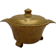 SALE Arts & Crafts Nordic Brass Humidor Viking Footed Cauldron w/ Medieval Shield Lid