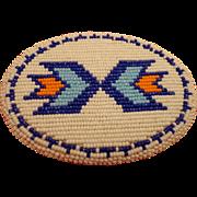 SOLD Vintage Men's American Indian Beaded Belt Buckle Cobalt Blue with Arrows