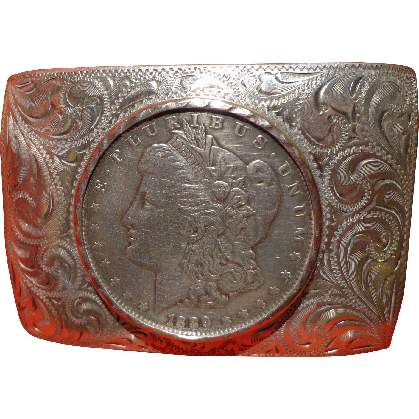 Vintage Sterling Silver Cowboy Belt Buckle 925 Morgan
