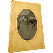 Rare Tintype of a Racehorse with American Flag Horse Photograph