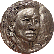 American Indian Sculpted Table Medal by Joe Beeler of Arizona Crow Chief