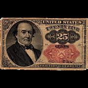 25C Twenty-Five Cent Fractional US Currency Series 1874 Walker Note Paper Money