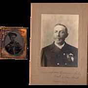 Historical Civil War Tintype Navy Sailor with GAR Veteran Cabinet Photo Massachusetts 8th ...