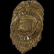 Vintage Bethlehem Steel Plant Police Badge #830 WWII Era Pennsylvania