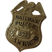 Antique DL&W RR Railway Police Badge Delaware Lackawanna & Western Railroad