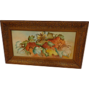 Spectacular Aesthetic Movement Limoges Tile with Butterfly & Grapes