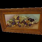 Beautiful Aesthetic Movement Limoges Art Tile with Deep Purple Boysenberries
