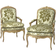 SALE 18th century Pair of Louis XV Giltwood Fauteuils or Arm Chairs, c. 1755, ex ...