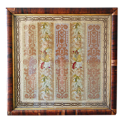 SALE 19th century Victorian Framed Floral Needlepoint Needlework Berlin Work Embroidery
