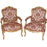 SALE Mid 19th century French Gilt Beechwood Fauteuils / Armchairs