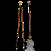 SALE Antique Louis XV Gilt Ormolu Steel Fireplace tools / set, 19th century