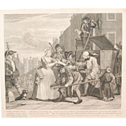 SOLD William Hogarth 1st Edition Rake's Progress Engraving Scene / Plate Four, Antique 18th ce