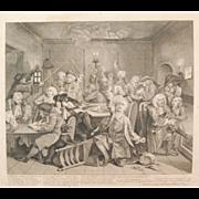SOLD William Hogarth 1st Edition Rake's Progress Engraving Scene / Plate Six,  Antique 18th ce