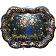 SALE 19th century Chinoiserie Tole and Abalone Shell Inlay Painted Tray, English