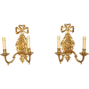 SALE 19th century French Louis XVI Transitional Style Satyr Head Two Light Pair of Sconces ...