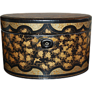 SALE Chinese Export Lacquered Wood Oval Tea Caddy, Black lacquer with gilt decoration, 18th ..