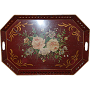 SALE Late 19th century French Red Floral Toleware Tole Tray, Rare Large type