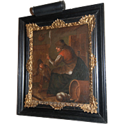 SALE 17th century Flemish Genre Oil on Canvas Painting of an Old Lady and Child ...