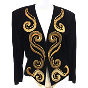 Vintage Yves Saint Laurent Rive Gauche Embroidered Gold and Black Leather Jacket