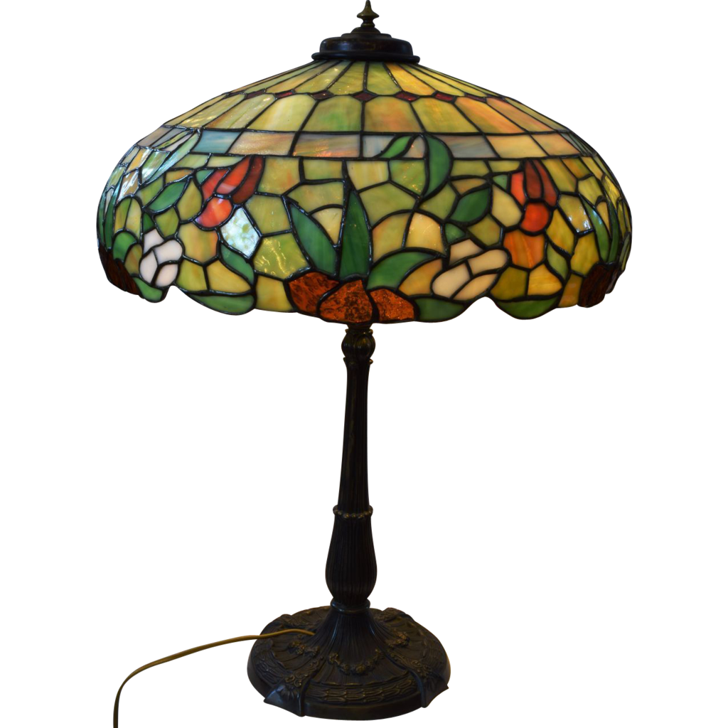 antique miller leaded stained glass lamp from josephsworld on ruby. Black Bedroom Furniture Sets. Home Design Ideas
