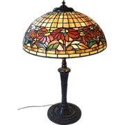 Tiffany Style Poinsettia Mosaic Shade Table Lamp with Miller base