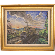 """SOLD Richards """"Green Country Sun"""" Oil on Cavas - Red Tag Sale Item"""