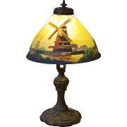 Pairpoint Reverse Painted Table Lamp with a Windmill Scene