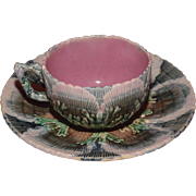 Majolica Etruscan Shell and Seaweed Coffee Cup and Saucer ca. 1880's