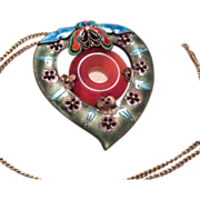 SALE Chinese Enamel Jade Heart Pendant