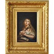 19th Century French School Holly Marie Magdalena Oil On Panel