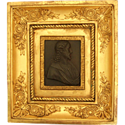 SOLD Bronze Bust Of The Christ In An Empire Gilt Frame - France Circa 1820 - Miniature