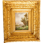 19th Century French School, Miniature Landscape, Oil On Panel