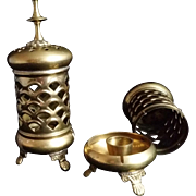 Pair of Brass Candle Holders / Incense Burners