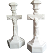 Pair of Milk Glass Crucifix Candlesticks