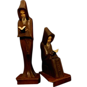 SALE Hand Carved Reading Monks Set