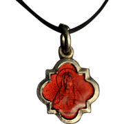Red Enamel Miniature Sacred Heart of Jesus Pendant
