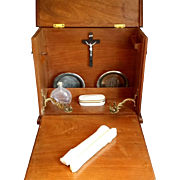 Carved Oak Sick Call Cabinet