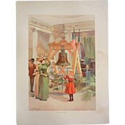 """Rare Antique Chromolithograph The World's Fair in Watercolors - """"Old Liberty Bell"""" b"""