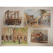 "Rare Antique Chromolithograph The World's Fair in Watercolors - ""Scenes In The Irish Vill"