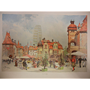 """Rare Antique Chromolithograph The World's Fair in Watercolors - """"Old Vienna"""" by C. G"""