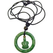 Vintage Carved Green Jade Turtle Necklace