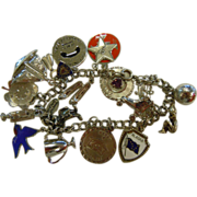 Sterling Silver Charm Bracelet w/ 18 Assorted Charms