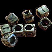 8 Super Cute Alphabet Cube Beads