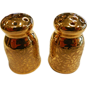 Vintage Czechoslovakia Signed Porcelain Gilded Salt/Pepper Shakers