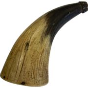 Old Powder Horn Signed by J.E. JW Hall