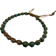 Turquoise & CZ Beaded Adjustable Macrame Bracelet w/ TAI Charm