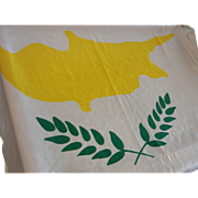 Flag of Cyprus Peace White Green Olive Leaves Yellow