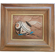 Fine Southwestern Multimedia Artwork Pictorial Sculpted Leather & Turquoise Signed Kull